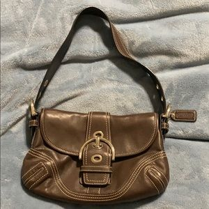 Small brown leather Coach purse